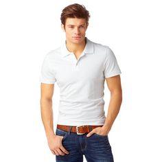 Polo manches courtes maille jersey coton homme John Devin - Blanc- Vue 1