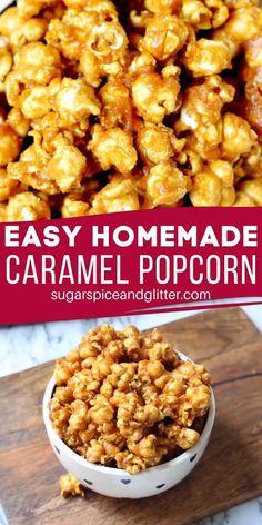 Homemade Popcorn Recipes, Caramel Corn Recipes, Pop Corn Caramel, Homemade Carmel Popcorn, Easy Caramel Recipe, Carmel Popcorn Recipe Easy, Sweet Popcorn Recipes, Sweet Recipes, Carmel Corn