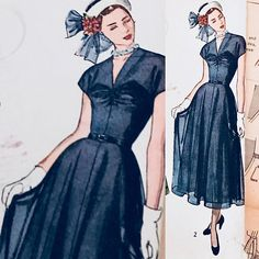 BUST 36 Vintage forties full skirt frock Daytime or
