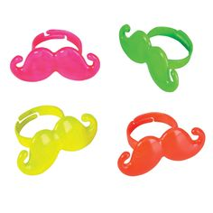 Neon Moustache Ring from BirthdayExpress.com