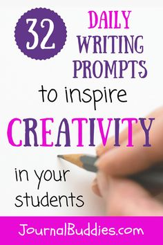 Creative journal prompts are one of the best ways to help your students learn that self-expression is a beautiful and freeing thing—and these all-new daily writing prompts are a great way to get started. As students reflect on what they like best about themselves and what they aspire to achieve in the future, they'll develop a deeper appreciation of their unique strengths and skills. via @journalbuddies