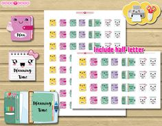 Kawaii Planner printable stickers for Erin condren or Happy planner. Cute but functional print and cut stickers  ❤ Include letter and half letter size.
