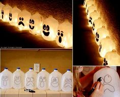 Take empty water jugs and draw wierd scary funny faces then cut little hole on both sides just enough to put the light a through and put the...