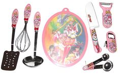 sailor moon supers kitchen goods, including spatula, whisk, ladle, cutting board, knife, peeler/grater, bottle/can opener, measuring spoons