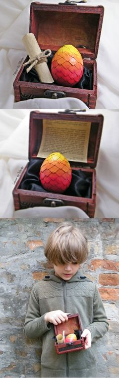 This is a rare deviation of Fire Heart dragon egg, of the most romantic Fire Heart Dragon. ip of the egg (yellow part) glows in the dark. This fantasy dragon set includes one (1) fire dragon egg (size S), one (1) dragon story and one (1) wooden chest. To add a personalized certificate for a dragon keeper, please choose the option 'with certificate'.