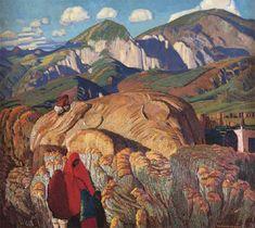 """Ernest L. Blumenschein, Haystack, Taos Valley, oil on canvas 24"""" x 27""""; Fred Jones, Jr. Museum of Art"""