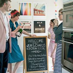 An ice cream social is a great way to cool off this summer. Try using a chalkboard menu to welcome your guests. More ice cream social party ideas: http://www.bhg.com/party/birthday/themes/ice-cream-social-party-ideas/?socsrc=bhgpin052213icecreamsocial=3