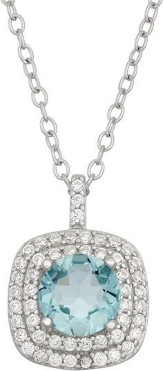 Fine Jewelry Cushion-Cut Simulated Aquamarine and Genuine White Topaz Sterling Silver Pendant Necklace PiZ8uVV