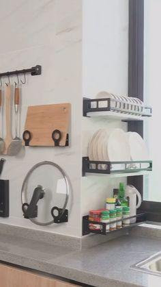 Organizadores # DIY Home Decor videos Stainless Steel Drain Rack Kitchen Room Design, Home Decor Kitchen, Kitchen Furniture, Kitchen Interior, Apartment Kitchen, Small Apartment Hacks, Kitchen Decorations, Rustic Kitchen, Apartment Ideas