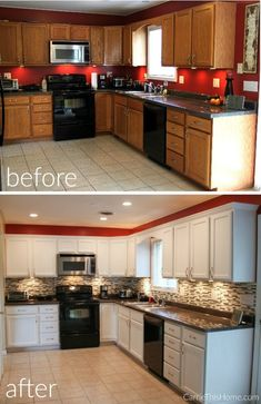 kitchen remodel on a budget Upgrade Kitchen Cabinets On A Budget - Instead of a major kitchen renovation, consider a DIY cabinet upgrade instead! You'll be amazed at the difference a couple of easy projects can make! Home Upgrades, Kitchen Upgrades, Kitchen Cabinets On A Budget, Diy Cabinets, Kitchen Cabinet Makeovers, Painted Oak Cabinets, How To Paint Kitchen Cabinets, Kitchen With Black Appliances, Kitchen Ideas On A Budget