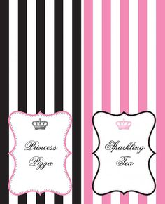 Free printable princess party tented cards with editable text fields! #freeprintables #princessparty