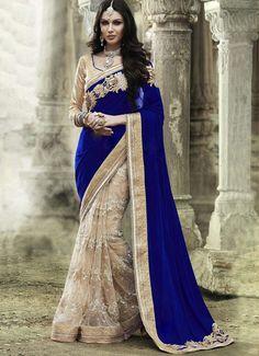 Velvet & Net Blue & Cream Bollywood Designer Saree - T1370