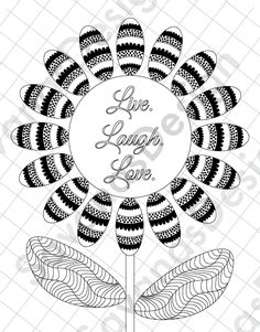 Sunflower Coloring Page Love Coloring Page Adult by SavanasDesign