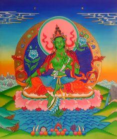 Green Tara, acrylic on canvas. Tara Verde, acrílico sobre lienzo.