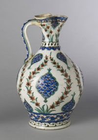 Jug  Made in Iznik, Turkey, Asia     Ottoman (1281-1923), 17th century    Artist/maker unknown, Turkish    Pottery with underglaze enamel decoration  11 3/8 x 7 inches (28.9 x 17.8 cm)  Philadelphia Museum of Art