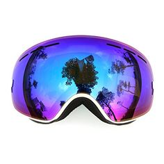 COPOZZ Mirrored Professional Ski Goggles Double Lens Anti-fog w/ Anti-UV 400 Skiing Men Women Multicolor Snow / Snowboard Goggles Fit Over Glasses Blue