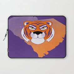 Clemson South Carolina State Tiger Watercolor Print Laptop Sleeve