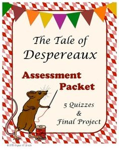 This is the assessment packet for the book, The Tale of Despereaux by Kate DiCamillo. It includes 5 quizzes with answer keys and a final project. For the final project, students create and plan a royal party! They plan all aspects of a party, including layout, activities, entertainment, food, employees, supplies, and more.