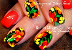 Hot and Neon Bright! DIY Flower Nail Art!  #tropical #flowernails #design #tutorial  #nails #nailart #howto #easy #DIY #DIYnails #spring2016 #bright #naildesign #orange #yellow #black #sunshinestateofmind @essie