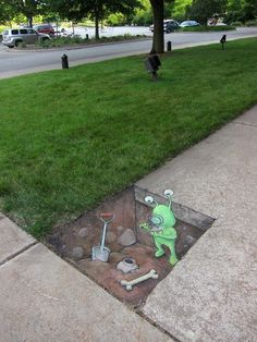 Street Art By David Zinn in Michigan, USA.