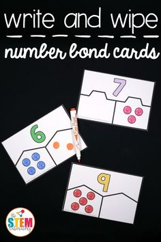 Number Bond Activities Free write and wipe number bond cards! Fun addition and subtraction activity for kindergarten and first grade.Free write and wipe number bond cards! Fun addition and subtraction activity for kindergarten and first grade. Numbers Kindergarten, Kindergarten Math Activities, Math Numbers, Preschool Math, Math Classroom, Teaching Math, Decomposing Numbers, Math Games, Classroom Ideas