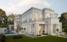 Inspired By French Influences - Discover La -Pyrenee Online Classic House Exterior, Classic House Design, Dream Home Design, Modern House Design, House Outside Design, House Front Design, French Style Homes, Villa Design, New Home Designs