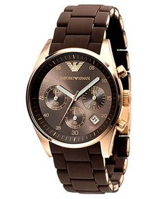 Emporio Armani Men's Sport Rose Gold Ion-Plating Brown Chronograph Dial Watch Emporio Armani, Giorgio Armani, Armani Watches, Luxury Watches For Men, Beautiful Watches, Sport Watches, Stainless Steel Bracelet, Quartz Watch, Watch Bands