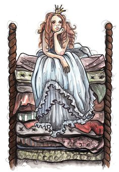 Han's Christian princess puts pea behind rugs and smashes. Peptol Bismol explodes everywhere. Hans Christian, Pinterest Arte, Illustrations, Illustration Art, Lisbeth Zwerger, Princess And The Pea, Fairytale Art, Canvas Prints, Art Prints