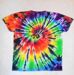 Tie Dye T-Shirt// Rainbow and black tie dye// Large tie dye// trippy, hippy, edgy, cool shirt/ music festival shirt/ rave clothing    ATL6 by FarmFreshTieDyeStore on Etsy