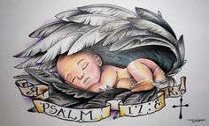 Baby Sleeping In Wings Tattoo Design