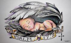 Baby Sleeping In Wings Tattoo Design