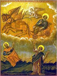 Elijah, Hungarian (Greek Orthodox) icon, ca. 1750. Elijah is shown twice, first standing in the dry riverbed, then in his transportation.