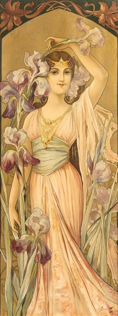 * Mary Golay, (British, Elegance, c. Art Nouveau Mucha, Art Nouveau Furniture, Painting Furniture, Purple Iris, Alphonse Mucha, Travel Posters, Vintage Images, Vintage Prints, Illustrations Posters