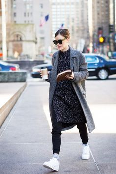 Style a dress over a pair of pants for an original and fresh look this fall