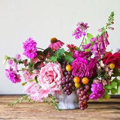 Flowers with grapes. Verdigris Vie: Hand Picked Pretty