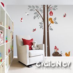 Children Wall Decal Wall Sticker - Squirrels On the Tree with Birds and Birdhouse - PLWD020L. $65.00, via Etsy.