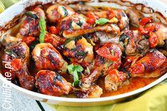 ChilliBite.pl - motywuje do gotowania!: Kurczak długo pieczony w pomidorkach i czosnku Lunch Recipes, Paella, Food Porn, Dishes, Meat, Chicken, Cooking, Ethnic Recipes, Blog