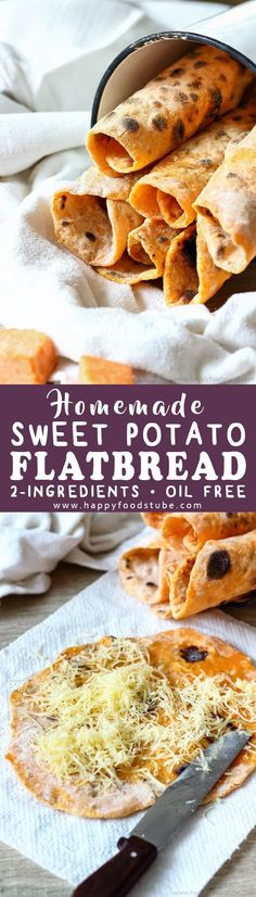 Homemade sweet potato flatbread is a delicious 2-ingredient side dish. This oil-free and yeast free flatbread goes well with curry, duck or grilled meats. Step by step how to make flatbread. Easy sweet potato flatbread recipe via @happyfoodstube