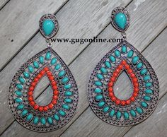 Fancy Turquoise and Coral Teardrop Earrings $12.95 www.gugonline.com