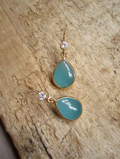 Aqua Chalcedony Earrings Bezel Set 14K Gold Fill by julianneblumlo, $74.00