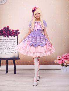 Sweet Lolita Dress With Ruffles & Bow - Lolitashow.com