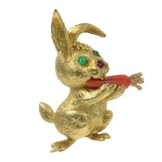 1stdibs | CARTIER Gold, Ruby & Emerald Rabbit Brooch