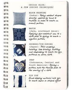 small shop: indigo dyeing techniques, batik, tie dye, Japanese shibori, block print, John Robshaw, ikat, dip dye