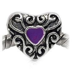 Heart Charm with Purple Enamel For Snake Chain Charm Bracelet