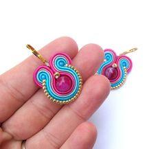 Round Agate Earrings Small Soutache Earrings by GiSoutacheJewelry