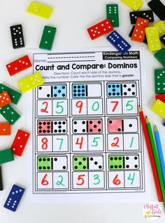 Count and Compare Dominos- This fun math game is perfect to practice comparing numbers in Kindergarten!