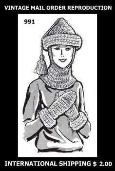 Vint 1980s Mail Order Design 991 Winter Crochet by APATTERNPEDDLER