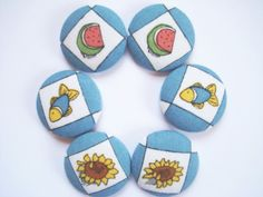 Summer Fun Fabric Covered Buttons  6 Large by whatshername on Etsy.