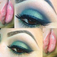 blye dramatic smokey eye, winged eyeliner, soft pink lip, lashes, brown eyes #makeupbykrissna