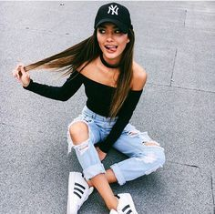 Cute outfit. Adidas shoes. Adidas fashion. Ripped boyfriend jeans. Off the shoulder cropped top. Baseball cap. Cute outfit.